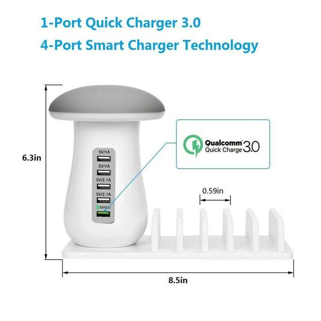 Zummy LED Mushroom Light Lamp 5 Powered USB Stand Charging Docking Station
