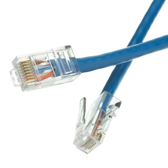 Cat5e Blue Ethernet Patch Cable, Bootless, 4 foot