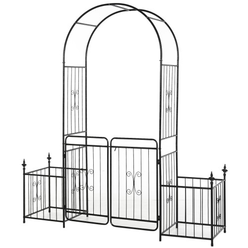 Outdoor Decor Steel Backyard Gate & Trellis w/ Two Door Design & Scrollwork
