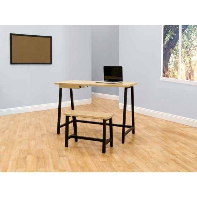 Offex Ashwood Homeroom Desk and Bench - Ashwood/Graphite