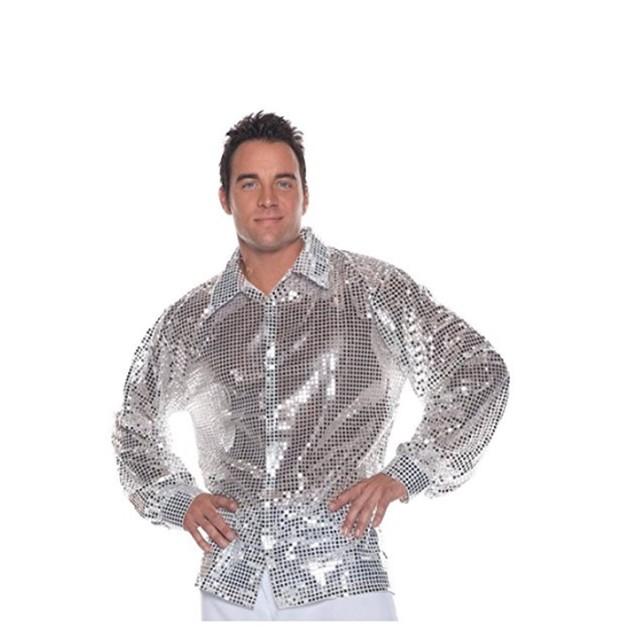 Sequin Silver Shirt Costume 70s Saturday Night Fever Dance Pimp
