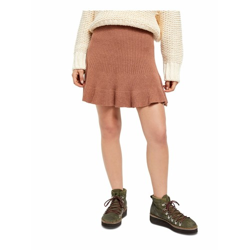 Free People Juniors' Solid Gold Ribbed Skirt Brown Size  Extra Small
