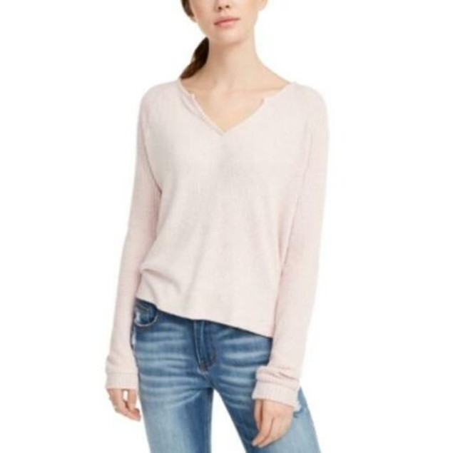 Planet Gold Juniors' Super Soft Ribbed Top Pink Size Extra Small