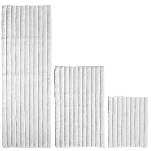 mDesign Soft Cotton Spa Mat & Rug Set for Bathroom, Set of 3 - White