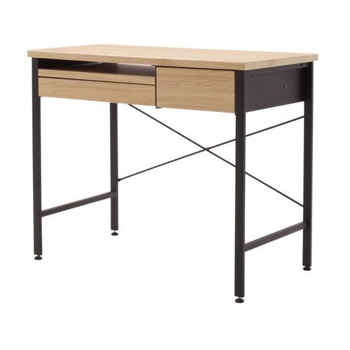 Offex Ashwood Compact Desk - Ashwood/Graphite