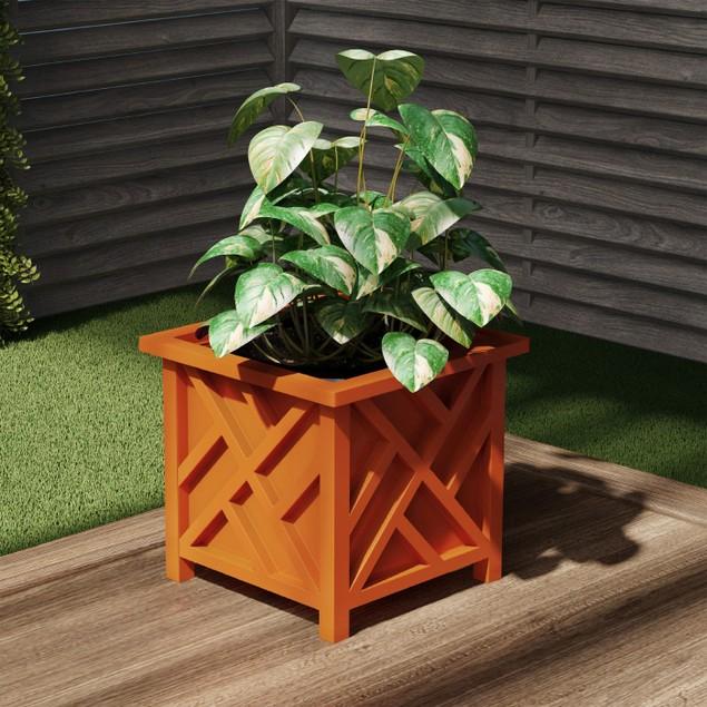 Square Planter Box- Terracotta Lattice Container for Flowers & Plants
