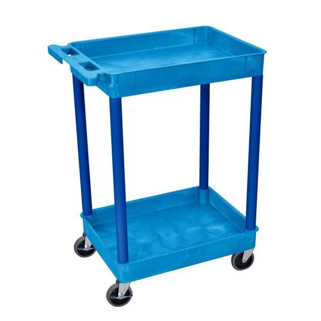 "Luxor 37"" Two Tub Shelves Utility Cart - Blue"
