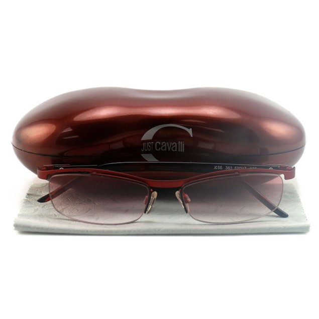 Just Cavalli Women's Sunglasses JC0055 383 Red 52 17 135 Semi-Rimless Oval