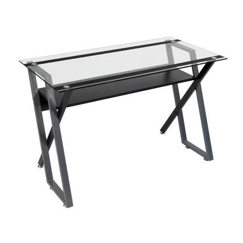 Offex Colorado Desk - Black/Silver/Clear Glass