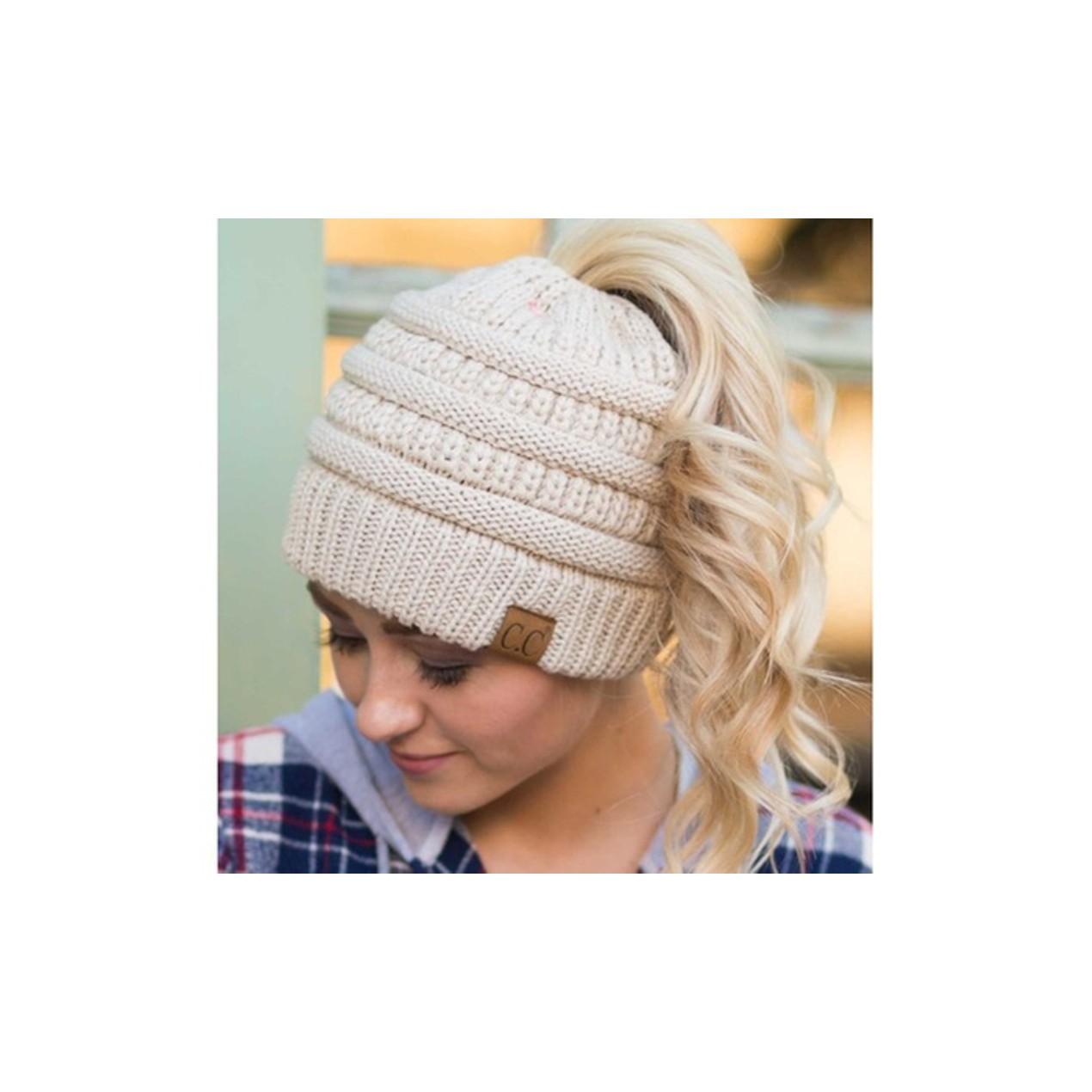 4c7d325fa80 C.C. Cable Knit Ponytail Beanie (7 Colors) - Tanga
