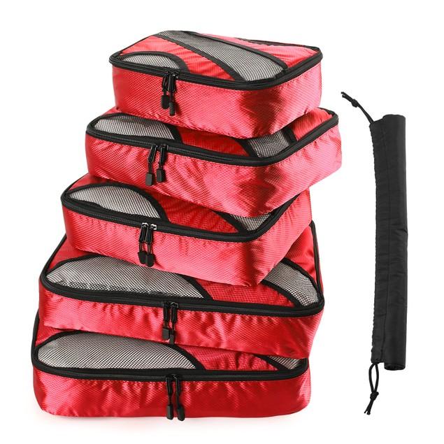 6PACK RED TRAVEL SUITCASE STORAGE BAG LUGGAGE LINER ORGANIZER