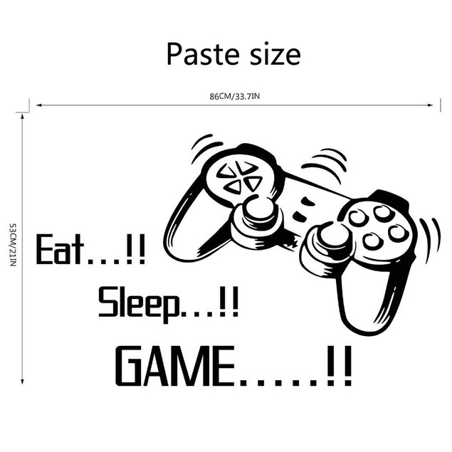 DIY Wall Stickers Letter Eat Sleep Game  Kids Bedroom Rooms Decoration