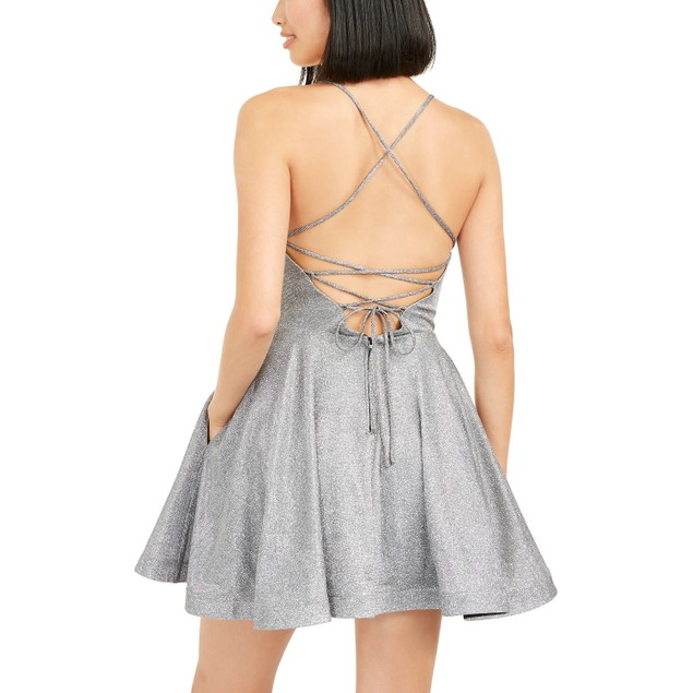 Speechless Juniors' Shimmer Lace-Back Dress Silver Size 13