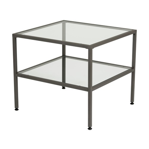 Offex Camber One Shelf End Table - Pewter/Clear Glass