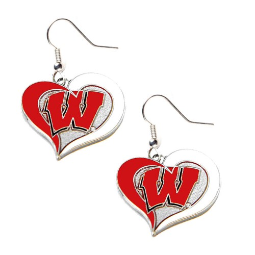 Wisconsin NCAA Swirl Heart Dangle Earring Set