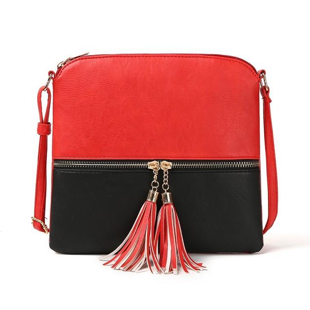 Double Fringe Zipper Diagonal Shoulder Bag