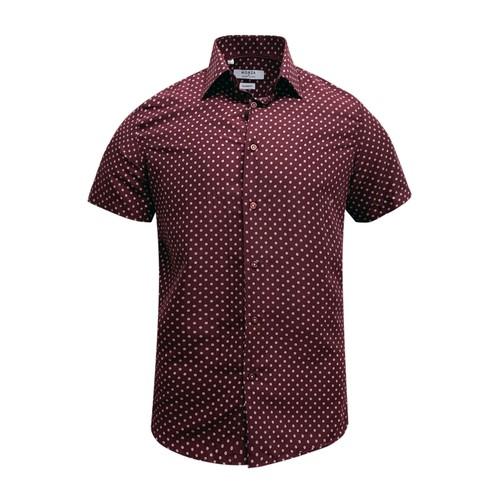 Monza Modern Fit Short Sleeve Burgundy Polka Dot Dress Shirt