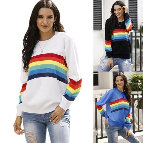 Women's Rainbow Striped Pullover Sweater