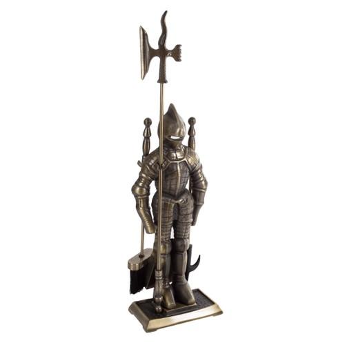 Metal Medieval Statue Man Fireplace Tool Set Vintage Cast Iron Home Decor