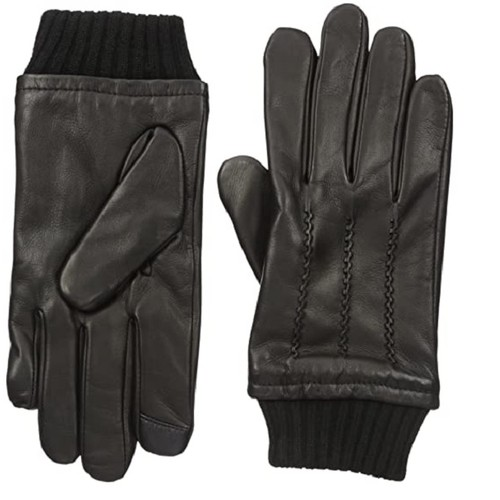 Tommy Hilfiger Men's Leather Touch-Screen Gloves Black Size Large