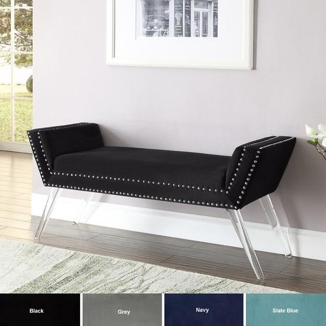 Velvet Bench-Modern Acrylic Legs Silver Nailhead Trim Inspired Home