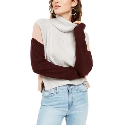 BCX Women's Juniors Colorblocked Knit Sweater White Size Medium