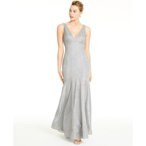 Sequin Hearts Women's  Glitter V-Neck Trumpet Gown Silver Size 1