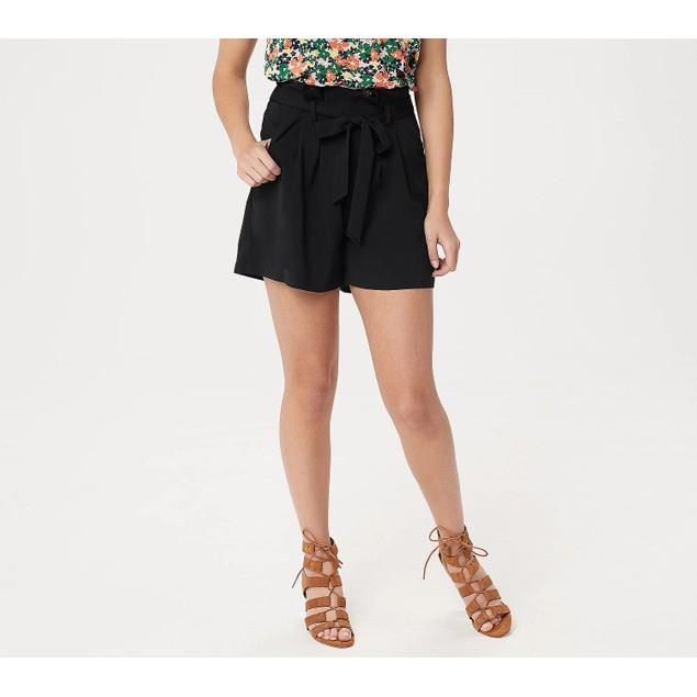 Du Jour Paper Bag Tie-Front Detail Flattering High Waist Shorts, Plus 24,