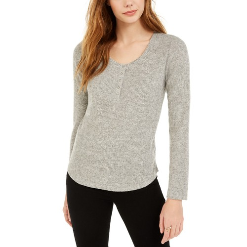 Hippie Rose Juniors' Women's Henley Top Gray Size Extra Small