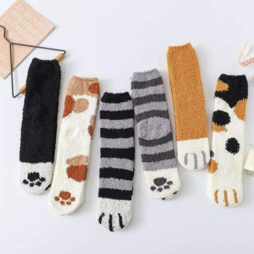 A Pair Of Fluffy Cat Claw Paw Socks Women Plush Coral Fleece Socks In Random Colors