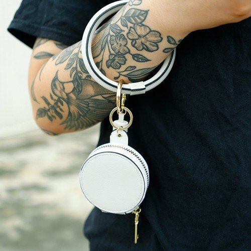 Unisex Wrist Keychain PU Apple Cosmetic Bag
