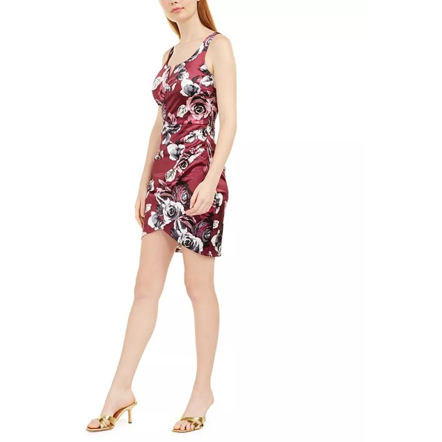 BCX Juniors' Women's Printed Satin Dress Maroon Size 15