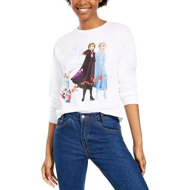 Mad Engine Disney Junior's Cotton Frozen Graphic T-Shirt White Size Small