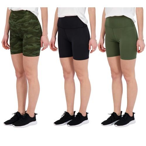 3 Pack: Womens Active High Waist Biker Shorts