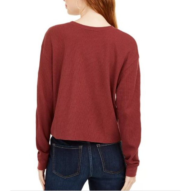 Love Tribe Junior's Waffle Knit Graphic Top Dark Red Size X-Small