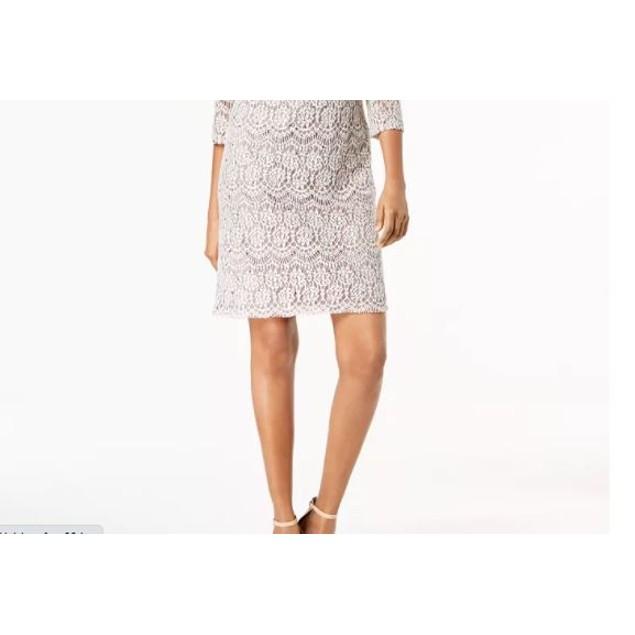 Jessica Howard Women's Petite Lace Shift Dress Charcoal Size 1