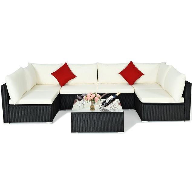 7PCS Patio Rattan Sectional Sofa Furniture Set