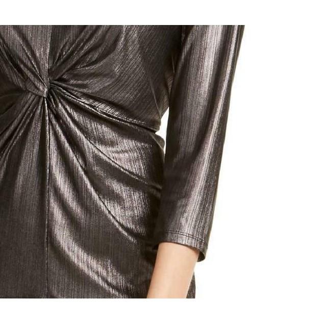 Alfani Women's Metallic Twist-Front Top Charcoal Size Extra Large