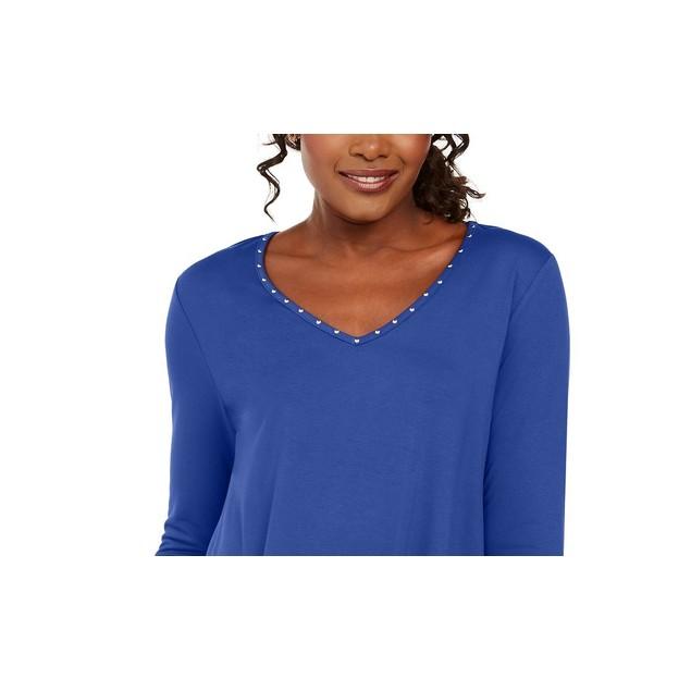 JM Collection Women's Mixed-Media Studs Top Blue Size Medium