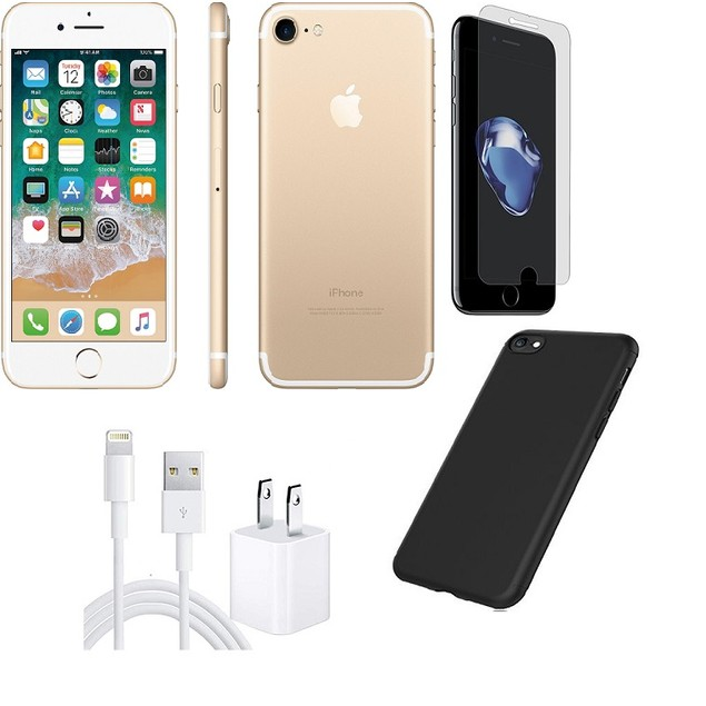 Apple iPhone 7 Unlocked 32GB Bundle (Gold, Black, Rose Gold, or Silver)