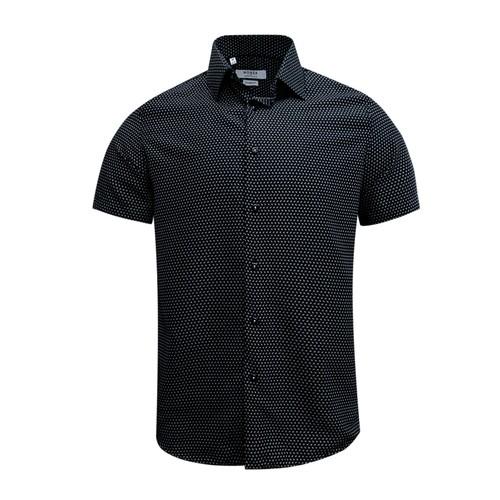 Monza Modern Fit Short Sleeve Black Herringbone Dress Shirt