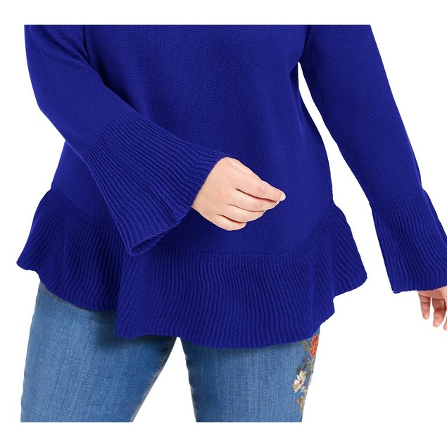 Style & Co Women's Plus Size Ruffled Sweater Blue Size OX