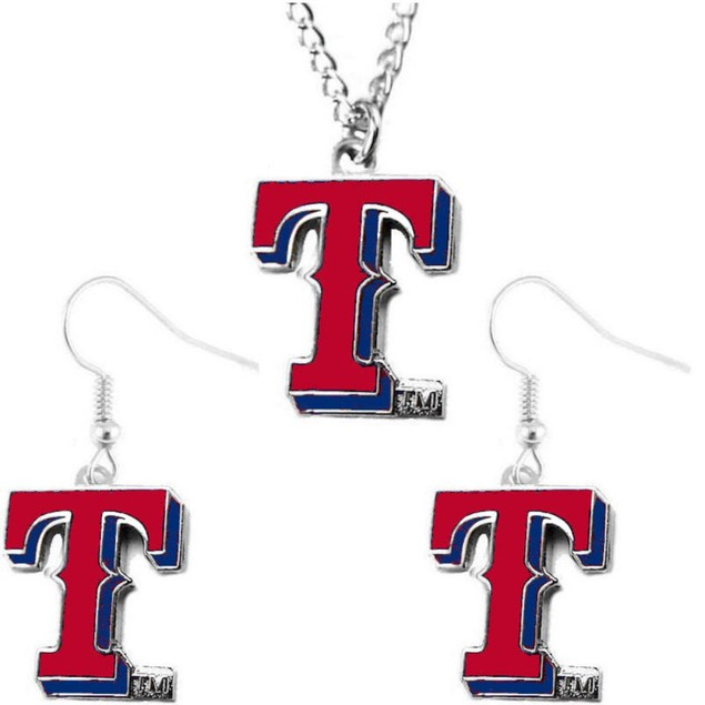 Texas Rangers NCAA Necklace And Dangle Earring Set Charm