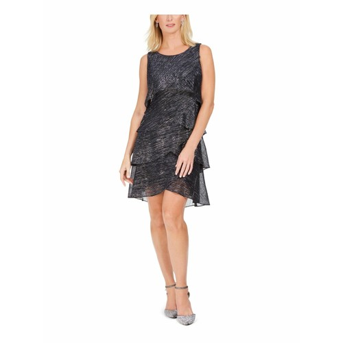 LSNY Fashions Women's Metallic Tiered Shift Dress Black Size 12