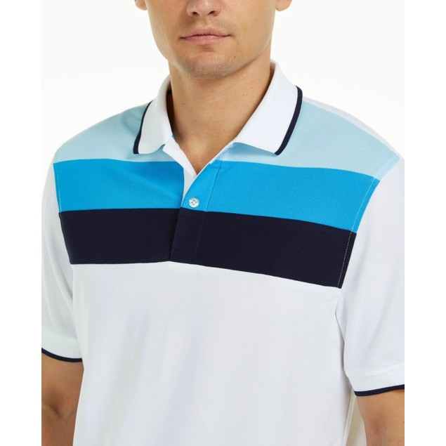 Club Room Men's Colorblocked Performance Polo Shirt  Dark Blue Size X-Large
