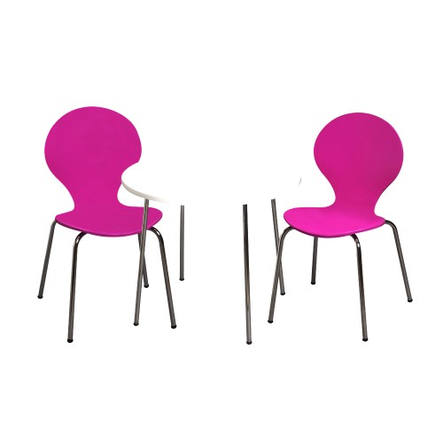 Childrens Table And 2 Chair Set With Chrome Legs (Purple Color Chairs)