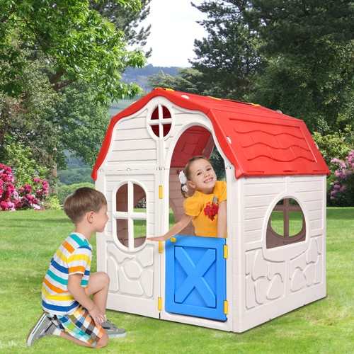 Costway Kids Cottage Playhouse Foldable Plastic Play House Indoor Outdoor T