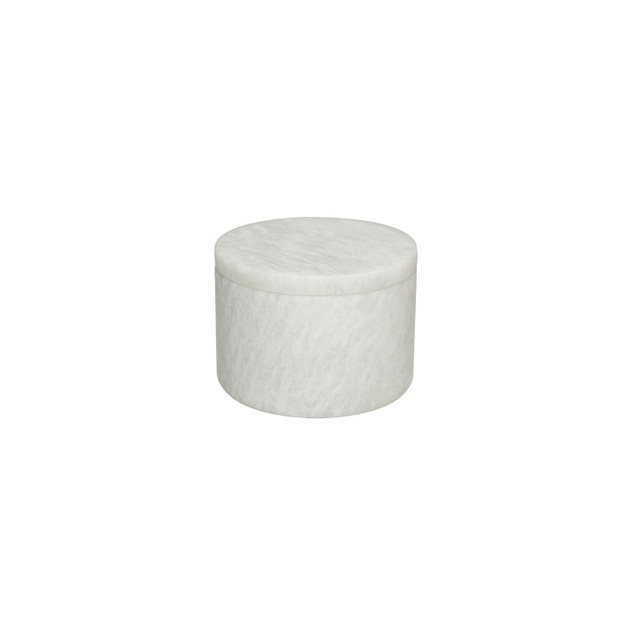 "Eirenne Collection Pearl White Marble 5-3/4"" Dia x 4"" Honed Finish Box"