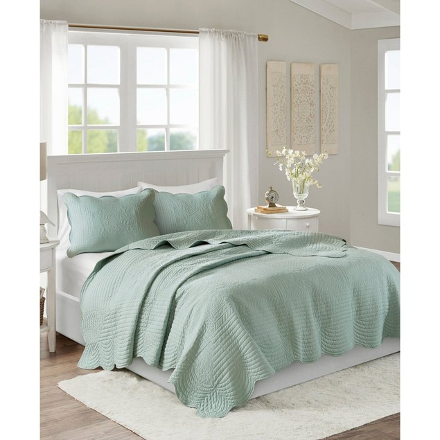 """Madison Park Tuscany 3-Pc. Full/Queen (94""""x96"""") Coverlet Set, Seafoam"""