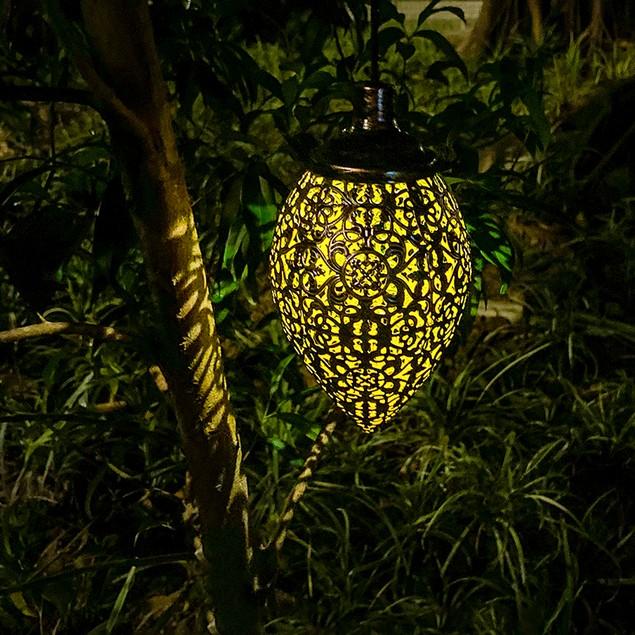 Hanging Solar Wrought Iron Light Waterproof Outdoor Landscape Lantern Yard